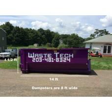 15 yard dumpster rental - 2 tons included - 2 week rental - $425